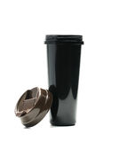 Black thermos bottle with open lid  on white background. Just add your own text Stock Image
