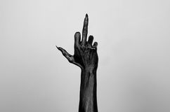 Black thin hand of death. Perfomance photography session witj new characters Stock Photo