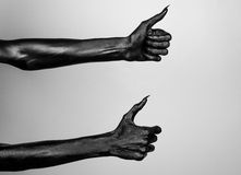 Black thin hands of death. Perfomance photography session witj new characters Royalty Free Stock Photo