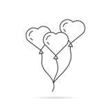 Black thin line balloon like heart Royalty Free Stock Photography