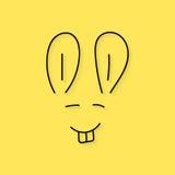 Black thin line rabbit muzzle Royalty Free Stock Photography