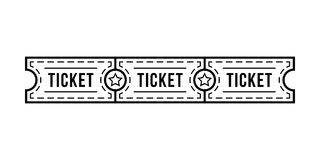 Black thin line tickets strip with star. Concept of air transport or bus card symbol for customer. linear flat stroke style trend modern contour logo graphic Stock Photo