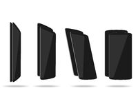 Black thin smartphones face and back different foreshortening Royalty Free Stock Photography