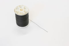 Black thread. On white background Stock Image