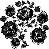 Black Three Flower Branch Stock Photo