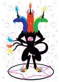 Black three headed unicorn magician. Royalty Free Stock Image
