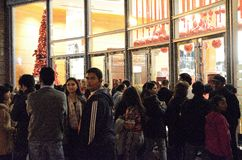 Black Thursday Madness in San Francisco. Black Thursday Shoppers Waiting for Stores to open Royalty Free Stock Photos