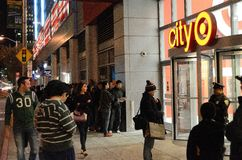 Black Thursday Madness in San Francisco. Black Thursday Shoppers Waiting for Stores to open Royalty Free Stock Photo