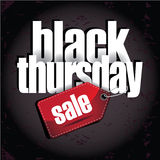 Black Thursday sale tag layered type design element. Stock Photos