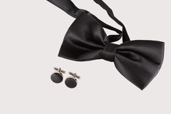 Black tie with cuff links. On white background royalty free stock photography