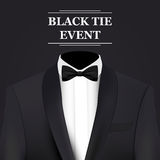 Black tie event invitation card. Vector background Stock Images