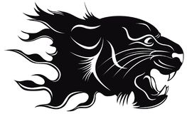 Black tiger. Black silhouette of a head of a tiger with a flame Stock Photo