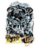 Black Tiger or Panther junior vector. Black Tiger or Panther junior acting design graphic art abstract illustratration has clipping paths Royalty Free Stock Image