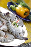 Black tiger prawns. Half cut Stock Photos