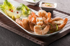 Black tiger prawns, salad and dips Stock Image