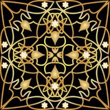 Black tile with luxurious golden art deco decor. Symmetric golden ornament with plastic elements. Vintage victorian. Patterns, swirly curves, elegant design Stock Image