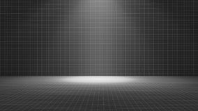 Black tile room with a spotlight, texture pattern background, 3d. Illustration Stock Images
