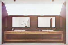 Black tiled bathroom interior, two sinks toned Stock Photos
