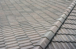 Black tiled roof for background usage Stock Photo