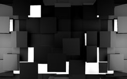 Black tiles background. 3d abstract background black tiles stock illustration