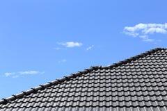 Black tiles roof Stock Photo