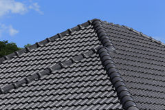 Black tiles roof Stock Image