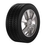 Black tire with alloy wheel Royalty Free Stock Image