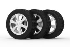 Black tire with alloy wheel Stock Image