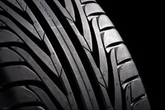 Black Tire on black royalty free stock image