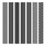 Black tire marks. A set of tire tracks, isolated on white background Royalty Free Stock Photos