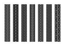 Black Tire Tracks Wheel Car or Transport Set on Road Texture Pattern for Automobile. Vector illustration of Track. royalty free illustration