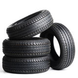 Black tires isolated on white background Royalty Free Stock Photos