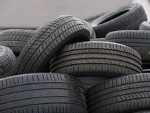 Black tires. A lot of black tires Stock Photo