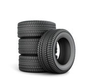 Black tires. On a white background Royalty Free Stock Photo