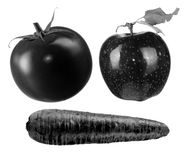 Black Tomato, Apple and Carrot Royalty Free Stock Image