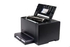 Black toner cartridge on a laser printer Royalty Free Stock Image