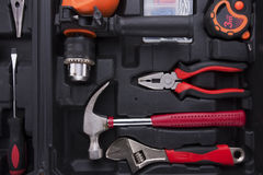 Black tool box with difference instruments Royalty Free Stock Photo