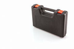 Black tool box, plastic case . Black tool box, plastic case on white background royalty free stock photos