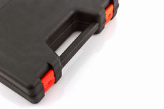 Black tool box, plastic case. Black tool box, plastic case on white background royalty free stock photography