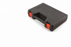 Black tool box, plastic case. Black tool box, plastic case on white background stock photos