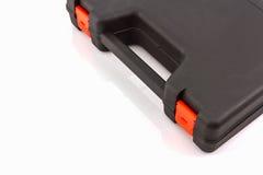 Black tool box, plastic case. Black tool box, plastic case on white background royalty free stock images