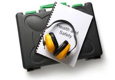 Black toolbox with earphones Royalty Free Stock Photography