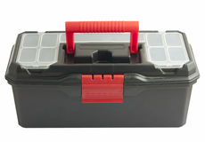 Black toolbox on white background. Black closed toolbox with red handle on white background Stock Photos