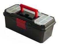 Black toolbox on white background. Black plastic toolbox on white background Royalty Free Stock Photo