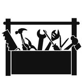 Black tools box. Isolated black tools box on white background royalty free illustration