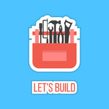 Black tools in red box sticker with let's build. Inscription. concept of happy father and labor day. isolated on stylish blue background. flat style design Royalty Free Stock Photos