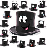 Black top hat cartoon isolated on white