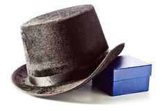 Black top hat and gift box Stock Images