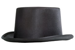 Black top hat. Isolated on white background Stock Photo