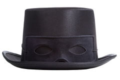 Black top hat with mask. Isolated on white background. Masquerade masked ball concept Royalty Free Stock Images